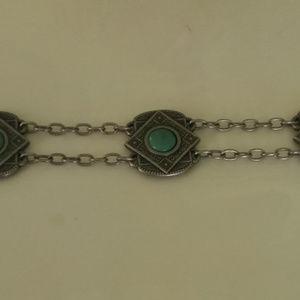 Women's Western Decorative Turquoise Chain Belt